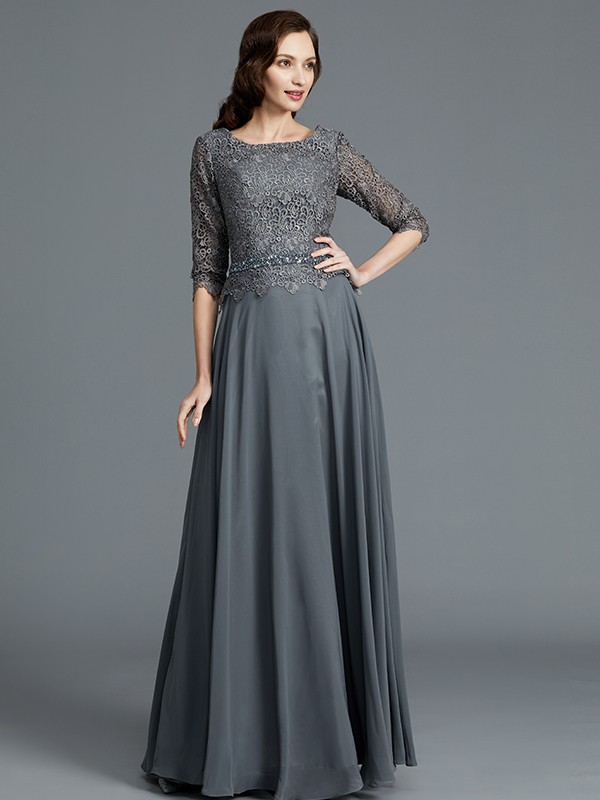 Grey A-Line Scoop Floor-Length Mother of the Bride Dresses