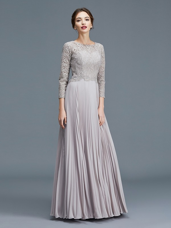 Silver Scoop Chiffon Floor-Length Mother of the Bride Dresses