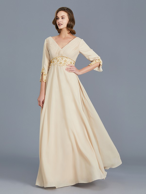 A-Line V-neck Floor-Length Champagne Mother of the Bride Dresses