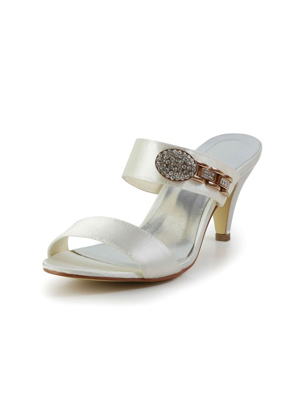 Attractive Satin Peep Toe Cone Heel With Rhinestone Ivory Sandal Shoes
