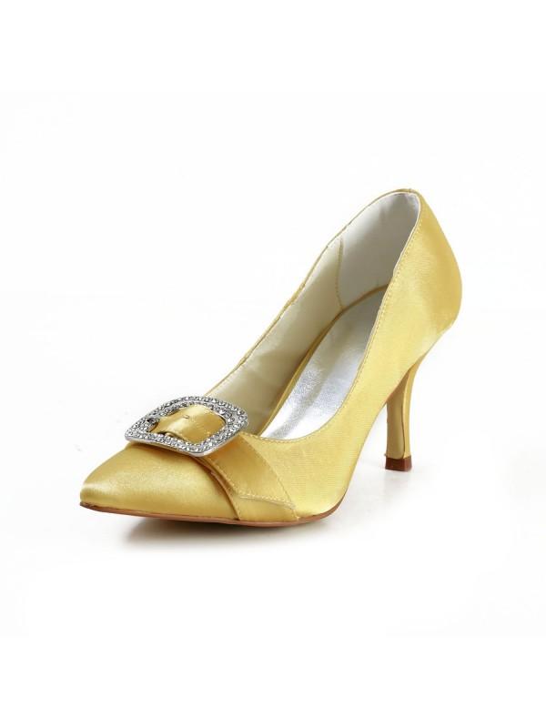Fashion Satin Stiletto Heel Closed Toe With Rhinestone Gold Wedding Shoes