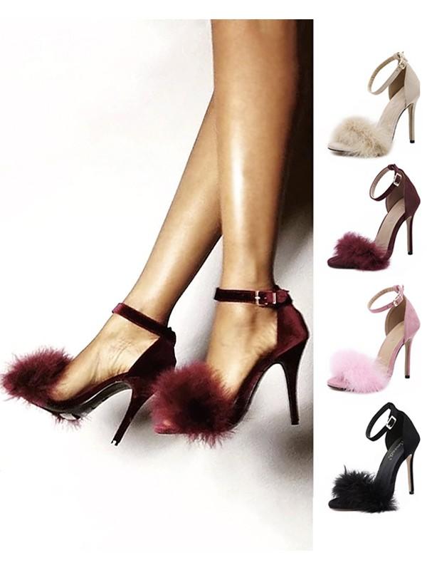 Women's Suede Stiletto Heel Peep Toe Sandals