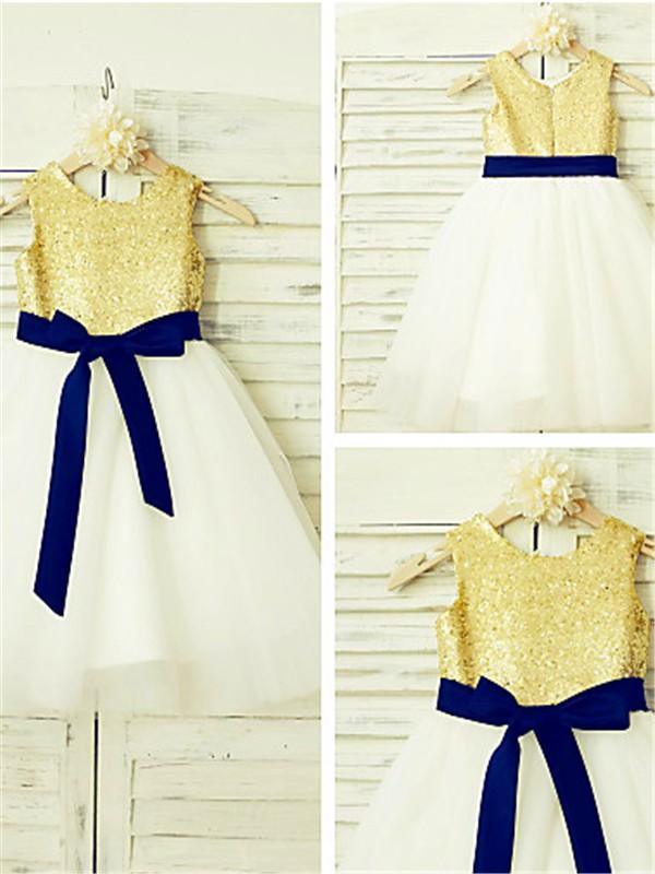 Tulle A-Line Tea-Length Scoop Pearl Pink Flower Girl Dresses