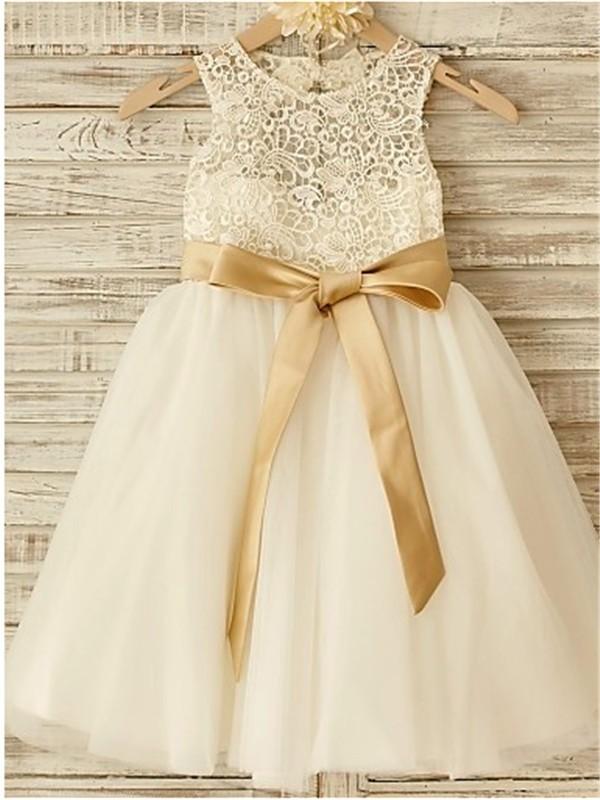 A-line/Princess Scoop Sleeveless Bowknot Floor-Length Tulle Flower Girl Dresses