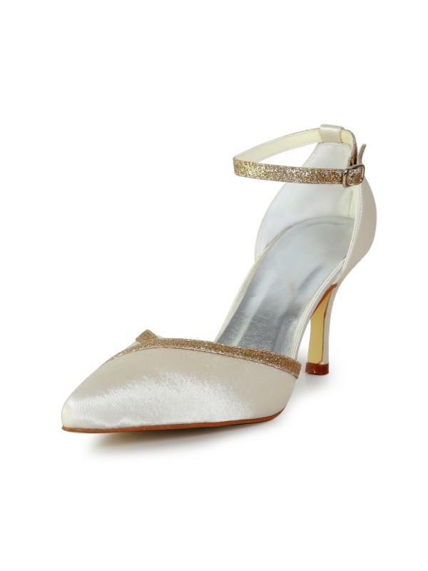 Elegant Satin Stiletto Heel With Sparkling Glitter Gold Wedding Shoes