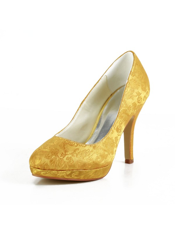 Fashion Satin Stiletto Heel Closed Toe Platform Gold Wedding Shoes