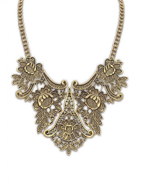 Occident Exotic Metallic flower pattern Fashion Necklace
