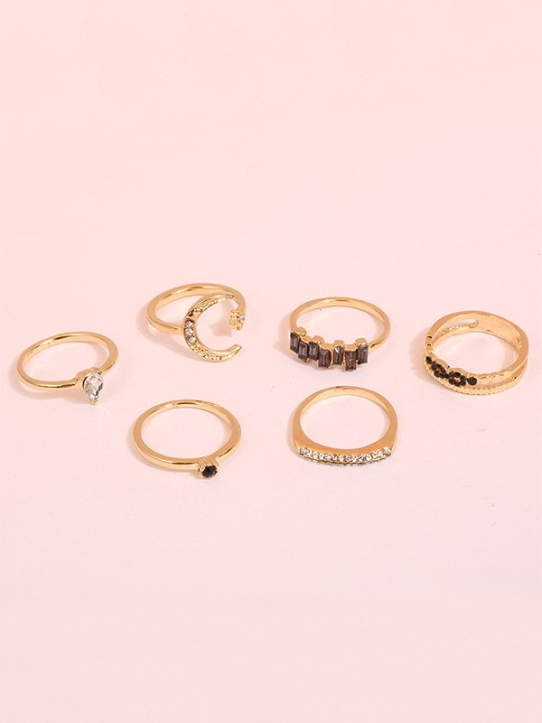 Beautiful Six Pieces Alloy With Rhinestone Hot Sale Rings