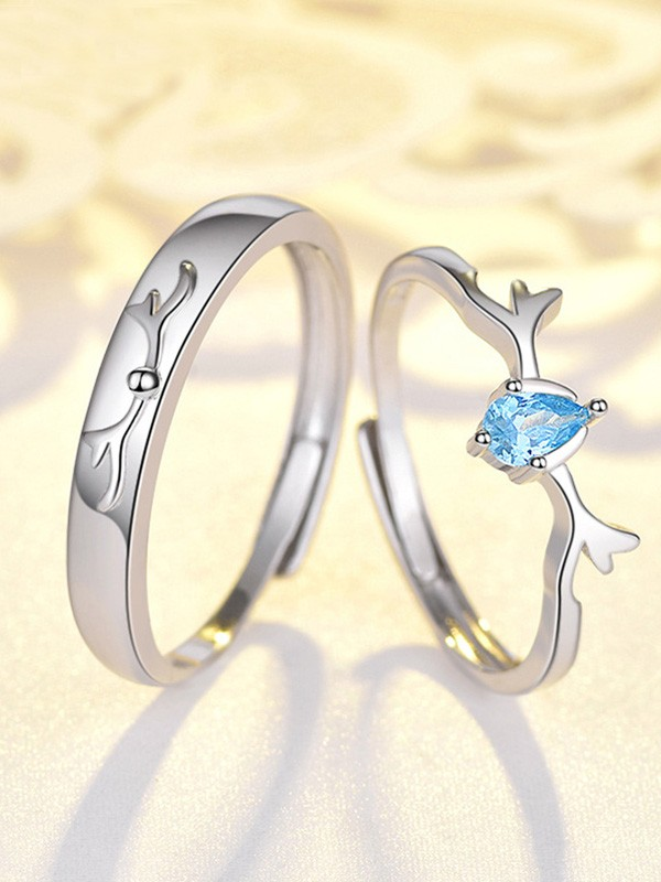 Brilliant S925 Silver With Zircon Adjustable Couple Rings