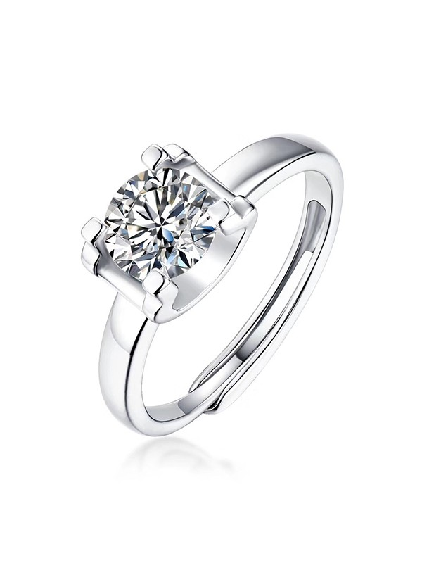 Fancy S925 Silver With Mosanite Adjustable Wedding Rings
