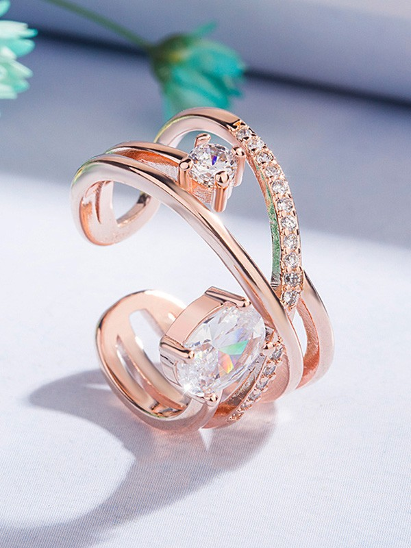 Gorgeous Copper With Zircon Hot Sale Adjustable Rings