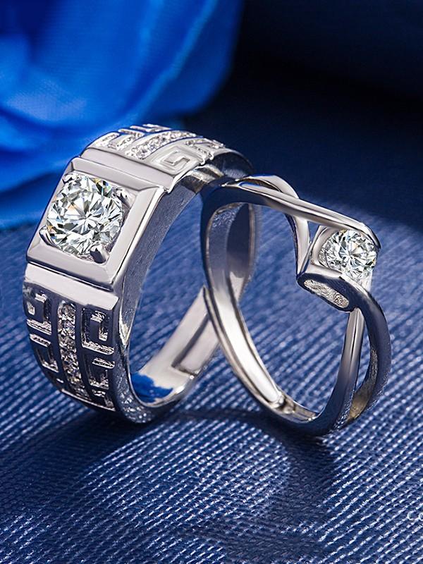 Attractive Copper With Zircon Adjustable Couple Rings