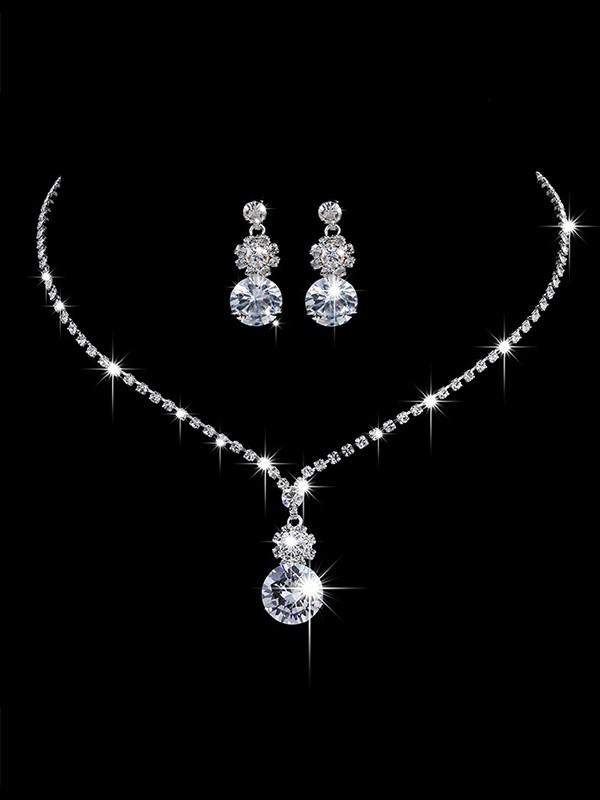 Ladies' Classic Copper With Rhinestone Jewelry Sets