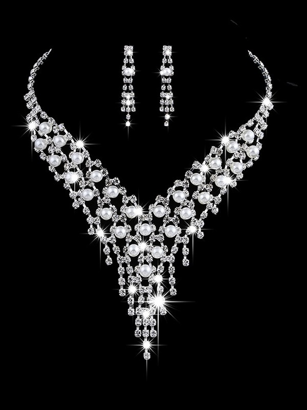 Fancy Copper With Pearl/Rhinestone Jewelry Sets For Ladies