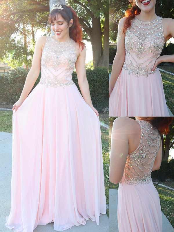 A-Line/Princess Chiffon Crystal Scoop Sleeveless Floor-Length Dresses