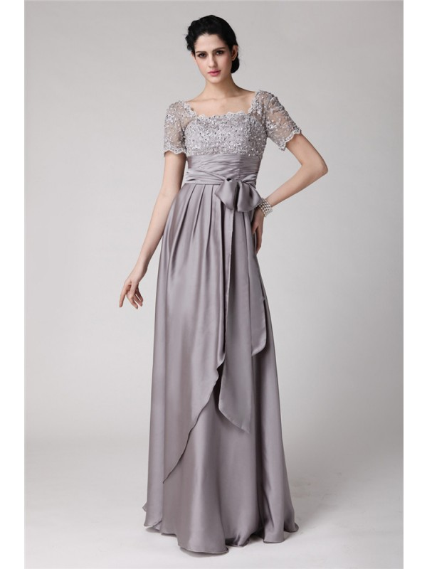 Square Floor-Length Grey Mother of the Bride Dresses with Beading