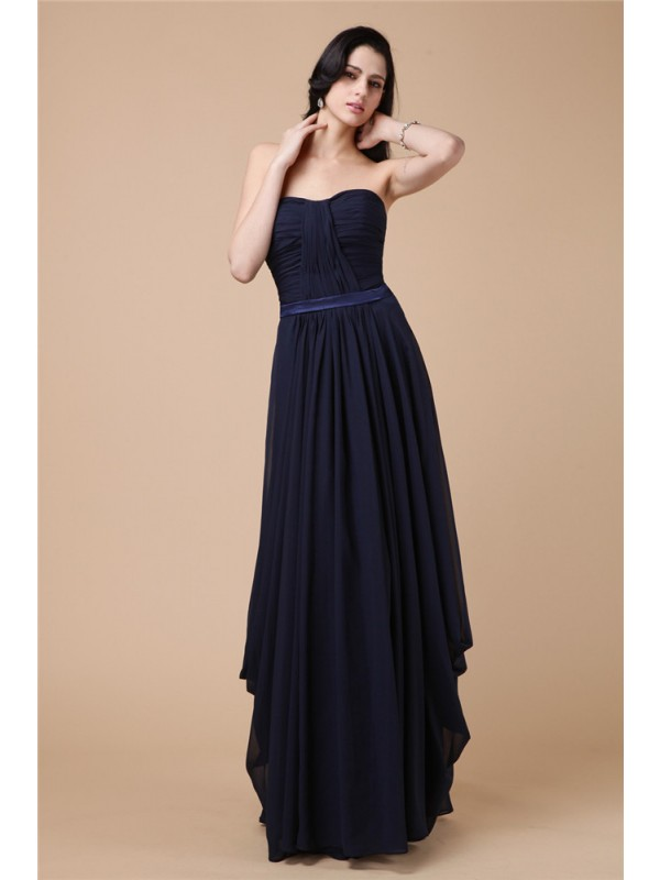 Chiffon Strapless Floor-Length Dark Navy Prom Dresses