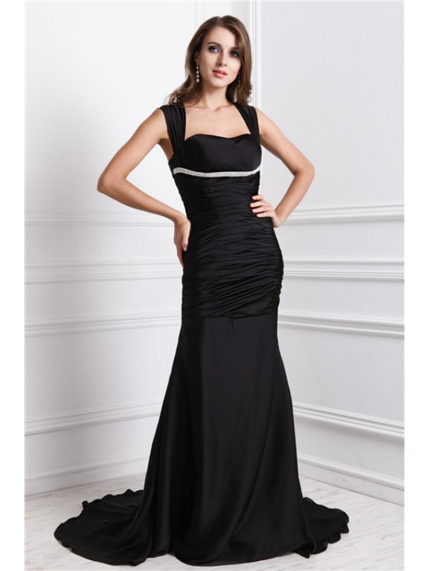 Mermaid Straps Brush Train Black Prom Dresses