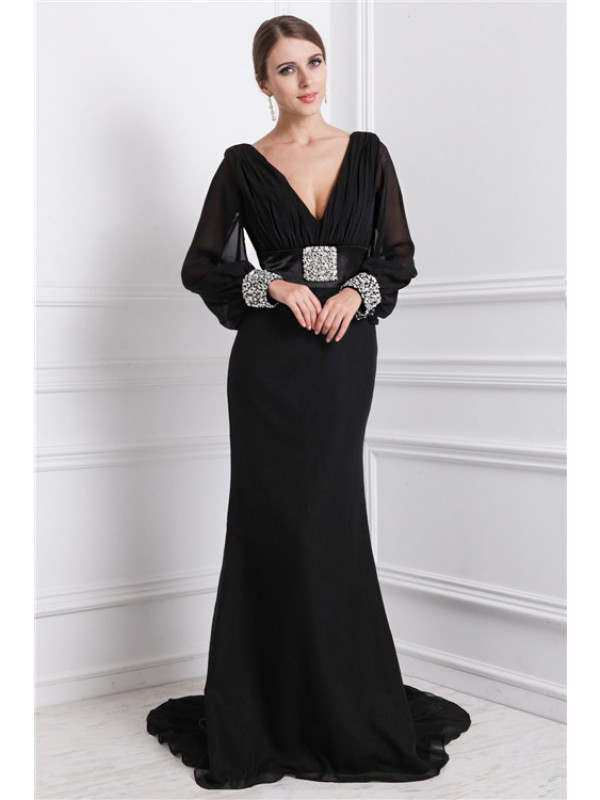 Mermaid Chiffon Long Sleeves V-neck Brush Train Prom Dresses with Beading