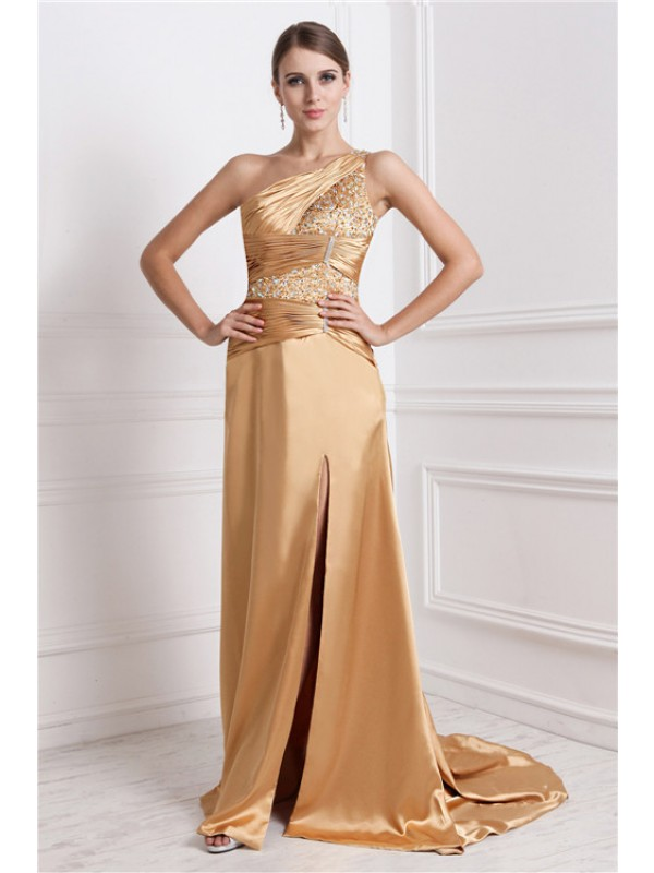 A-Line One-Shoulder Brush Train Gold Prom Dresses