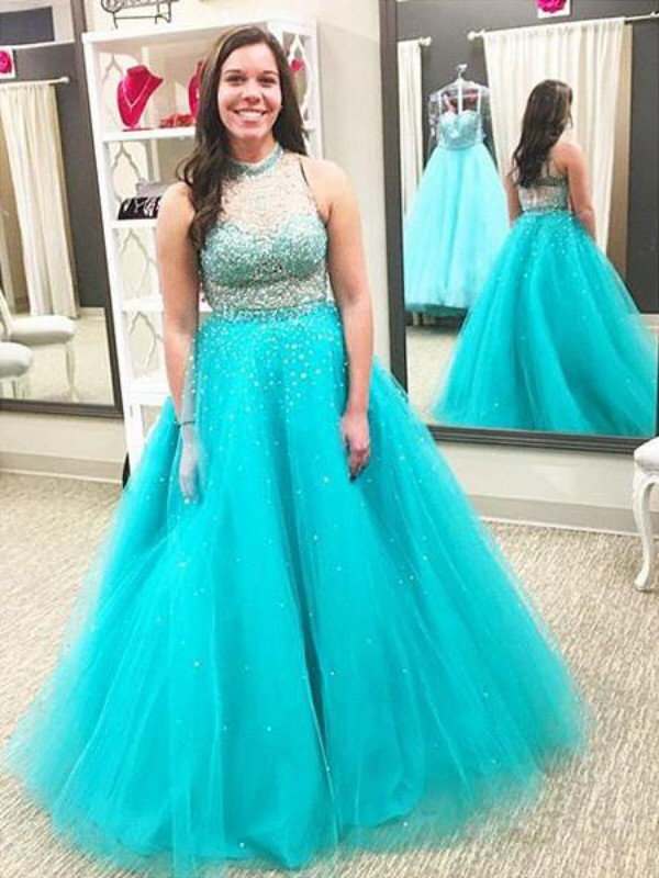 Tulle High Neck Floor-Length Blue Prom Dresses