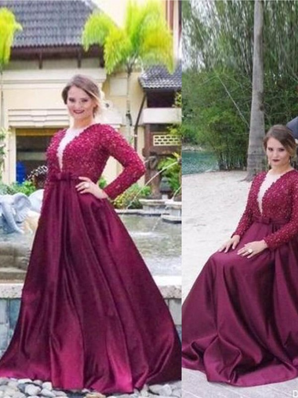A-Line V-neck Brush Train Burgundy Prom Dresses with Beading