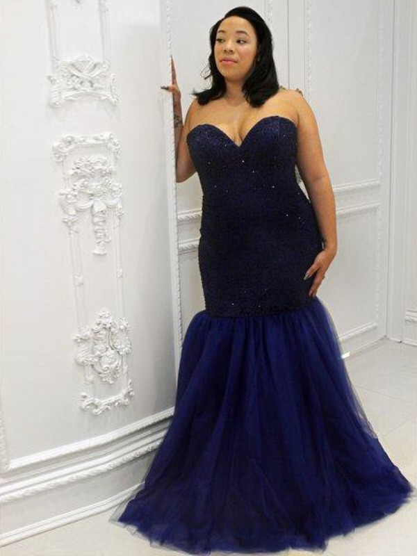 Mermaid Sweetheart Floor-Length Dark Navy Prom Dresses with Sequin