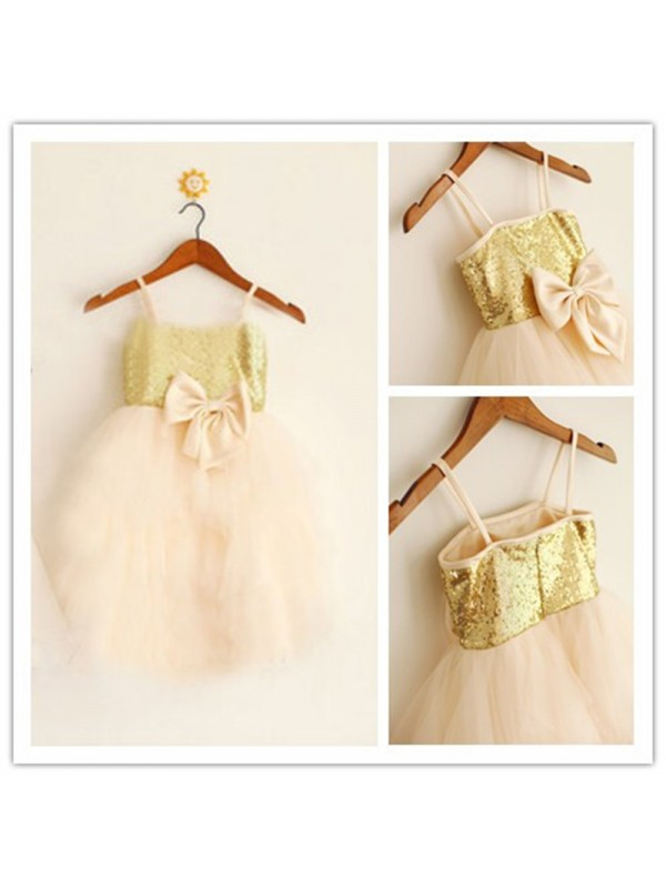 A-Line Spaghetti Straps Long Pearl Pink Flower Girl Dresses
