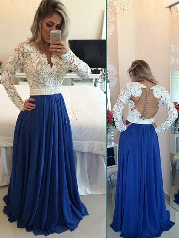 A-Line Chiffon Long Sleeves V-neck Floor-Length Prom Dresses