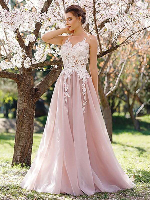 Jewel Floor-Length Pink Prom Dresses with Applique