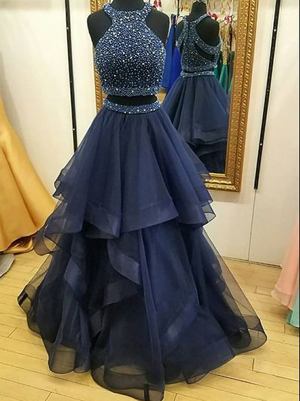 A-Line Tulle Halter Floor-Length Prom Dresses with Beading