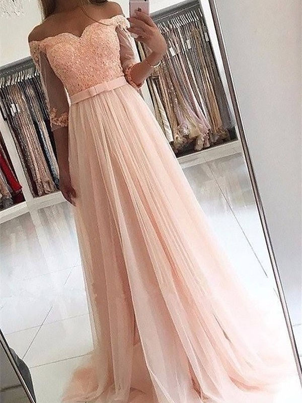 Tulle 3/4 Sleeves Off-the-Shoulder Brush Train Prom Dresses with Sash/Ribbon/Belt