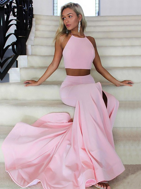 Satin Halter Brush Train Pink Prom Dresses