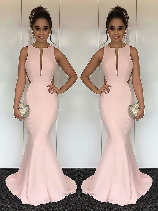 Mermaid Jewel Brush Train Pink Prom Dresses