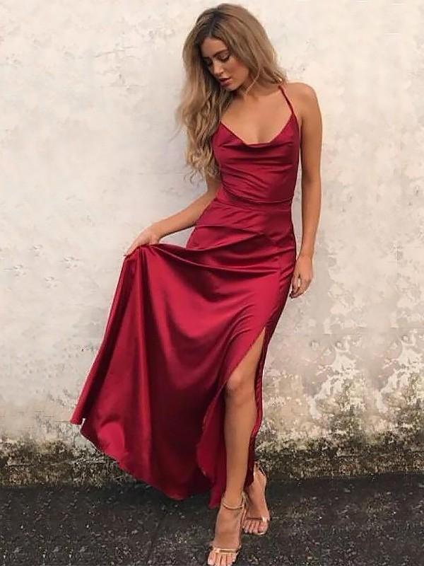 Elastic Woven Satin Spaghetti Straps Floor-Length Burgundy Prom Dresses