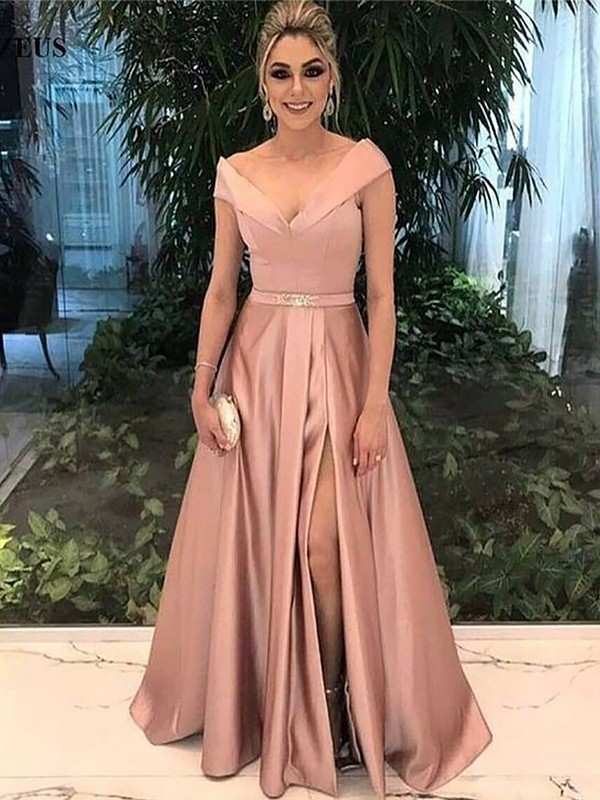 Pearl Pink A-Line Off-the-Shoulder Floor-Length Prom Dresses