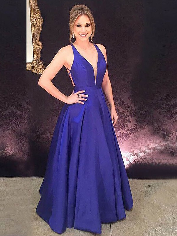 Satin V-neck Floor-Length Royal Blue Prom Dresses
