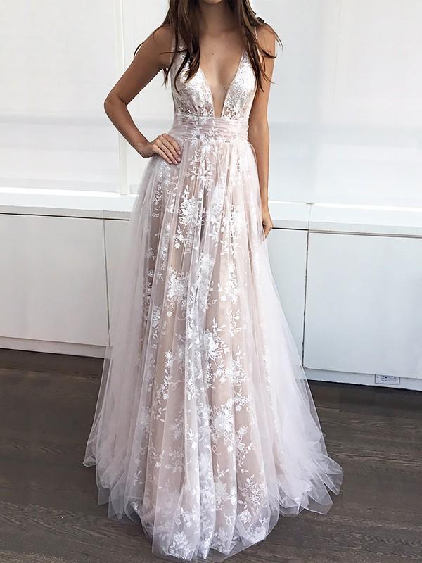 A-Line Tulle V-neck Floor-Length Champagne Prom Dresses
