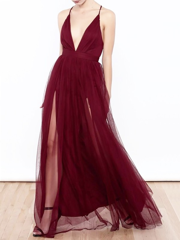 Tulle V-neck Floor-Length Burgundy Prom Dresses