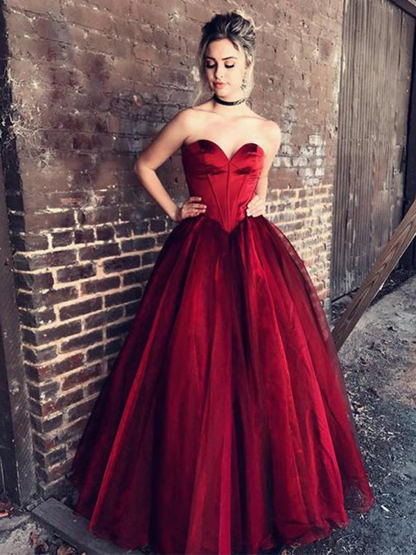 Ball Gown Tulle Sweetheart Floor-Length Burgundy Prom Dresses