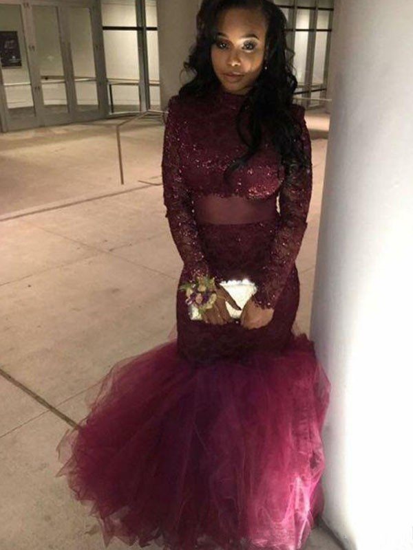 Long Sleeves Jewel Floor-Length Burgundy Prom Dresses with Applique