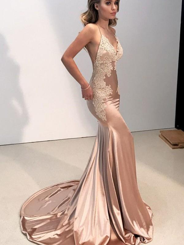 Mermaid Straps Brush Train Champagne Prom Dresses
