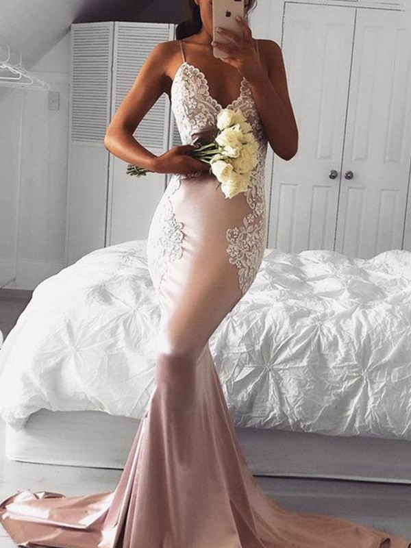 Pearl Pink V-neck Satin Brush Train Prom Dresses
