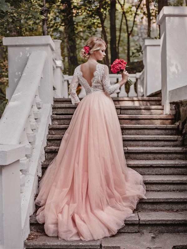 Ball Gown V-neck Court Train Pink Wedding Dresses with Applique