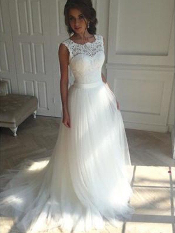 Tulle Square Court Train Ivory Wedding Dresses