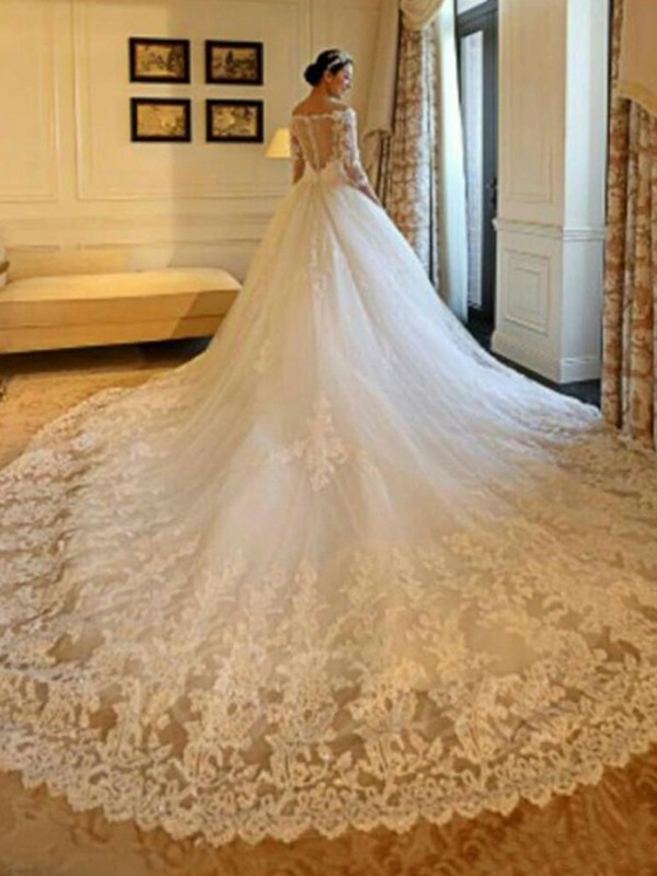 Cathedral Train Ivory 3/4 Sleeves Off-the-Shoulder Wedding Dresses with Beading