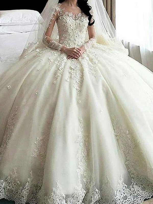 Tulle Long Sleeves Scoop Cathedral Train Ivory Wedding Dresses