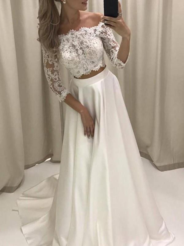 A-Line Satin 3/4 Sleeves Off-the-Shoulder Ivory Wedding Dresses