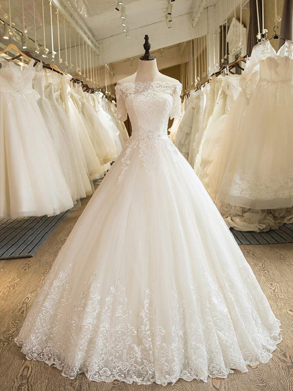 Tulle Half Sleeves Off-the-Shoulder Floor-Length Wedding Dresses with Applique