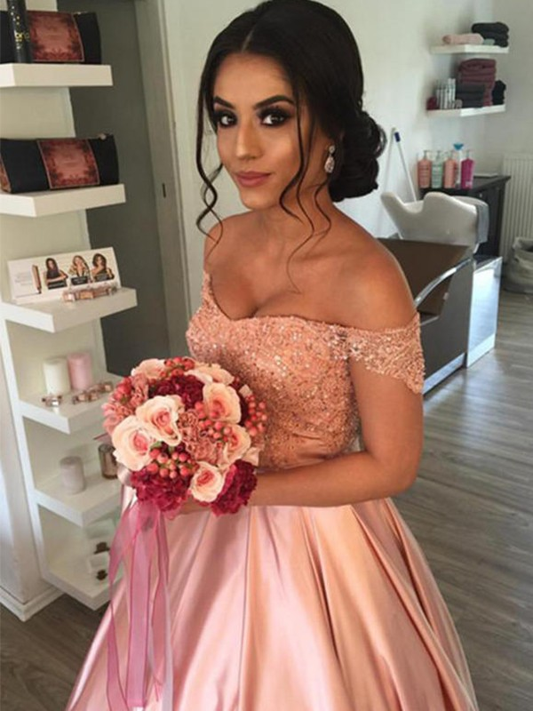 Off-the-Shoulder Cathedral Train Pink Wedding Dresses with Ruffles